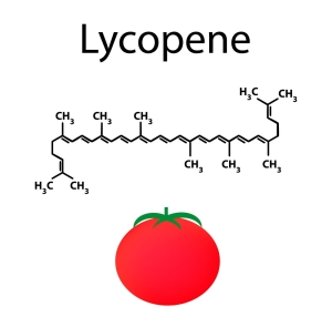 Lycopene is a chemical molecular formula. tomato. Vector illustration on isolated background.