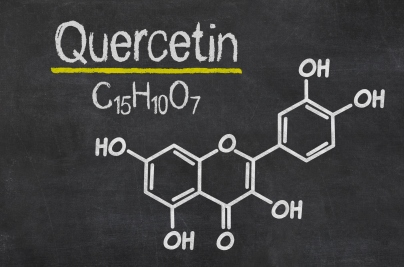 Blackboard with the chemical formula of Quercetin